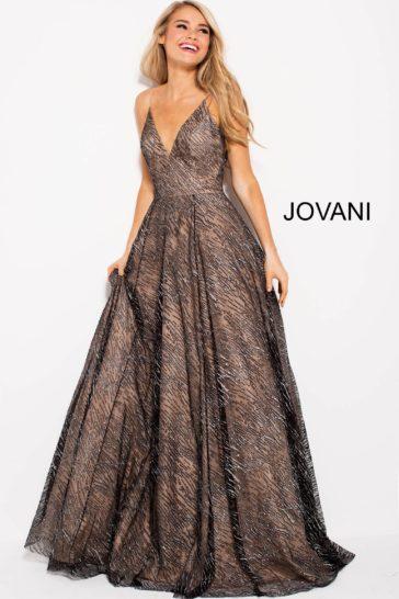 Оригинальное вечернее платье пышного силуэта с темно-серым сияющим верхом.