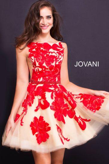 Короткое вечернее платье с алой отделкой на бежевой подкладке.