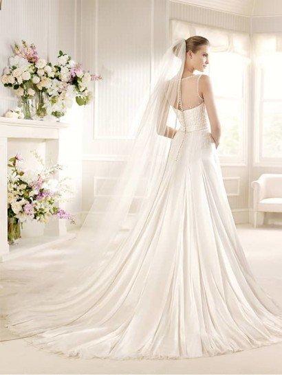 Свадебное платье из струящейся ткани с полупрозрачным верхом. ➌ Примерка и подгонка платьев  ✆ +7 495 627 62 42 ★ Салон Виктория Ⓜ Арбатская Ⓜ Смоленская