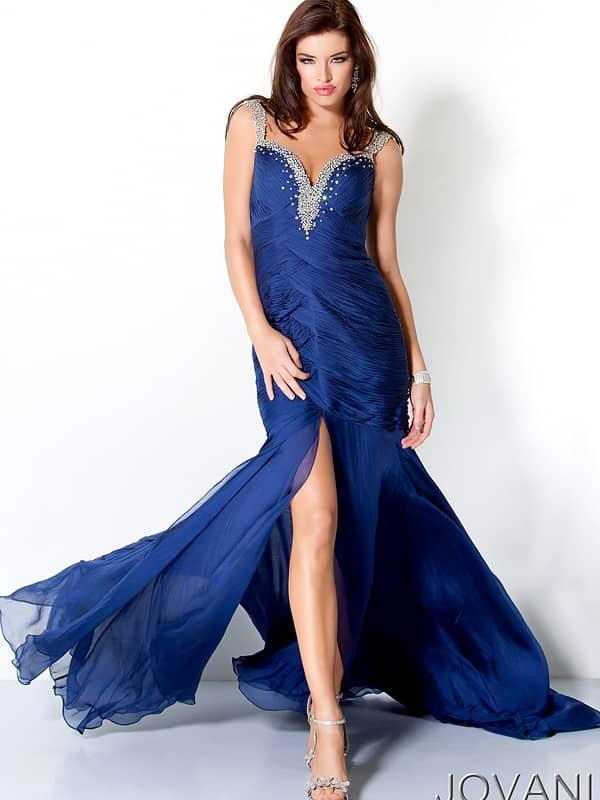 Вечернее сине платье в пол.