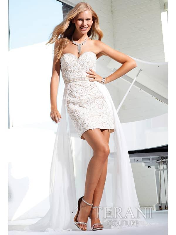 маленькое открытое коктейльное платье из рельефного кружева.