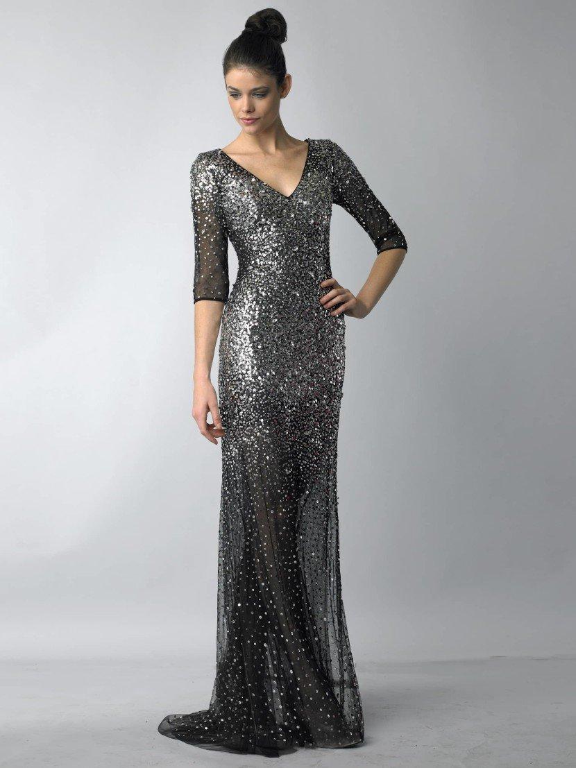 Роскошное черное вечернее платье с рукавом 3/4.