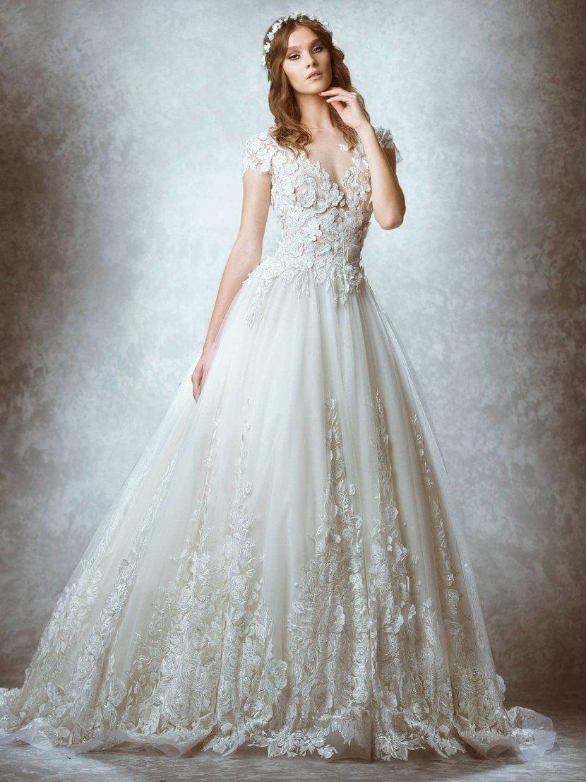 Дорогое кружевное свадебное платье 2015.