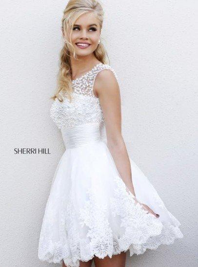 Короткое белое платье на выпускной.