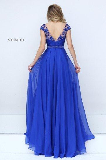 Синее платье в пол на выпускной .