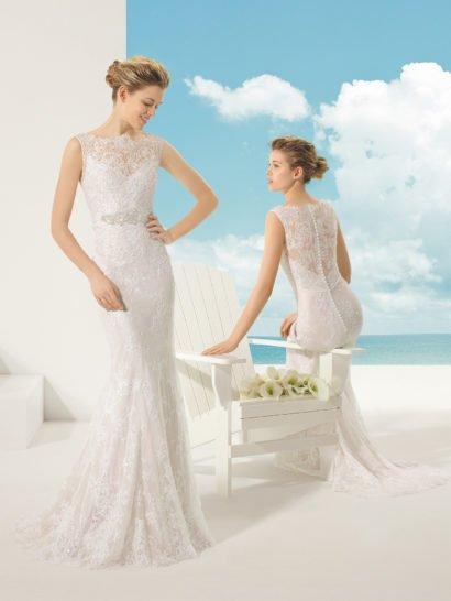 Свадебное платье на чехле из кружева с отделкой бусинами, цвет шампань