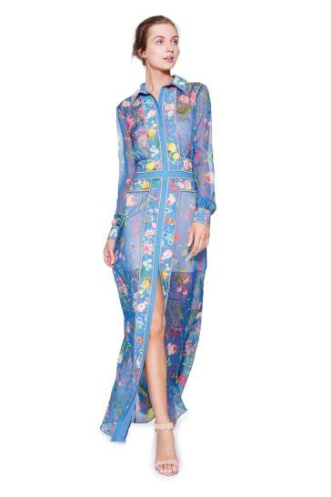Стильное голубое вечернее платье-рубашка с цветочным рисунком и белой подкладкой.